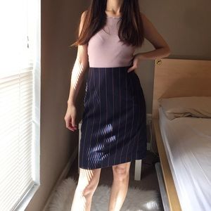 Escada vertical stripe suit skirt.
